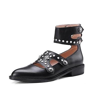 Žene Cipele Mekana koža Proljeće Udobne cipele Ravne cipele Niska potpetica Zatvorena Toe Crn / Crvena