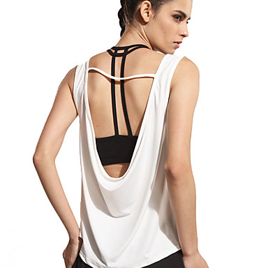 ad7717e832aa60 Women s Scoop Neck Open Back Yoga Top White Sports Solid Color Tank Top  Dance Running Sleeveless Activewear Lightweight Breathable Quick Dry  Micro-elastic ...