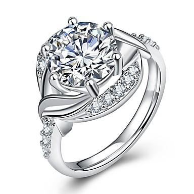 billige Motering-Dame Statement Ring / Ring / Micro Pave Ring 1pc Sølv Messing / Platin Belagt / Fuskediamant Geometrisk Form / Seks tenger damer / Luksus / Romantikk Bryllup / Fest / Maskerade Kostyme smykker