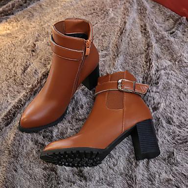 PU Dedo Tacón Moda Cuadrado Otoño Gemelo Negro de Puntiagudo 06829549 Mitad Botas Mujer de Gris Marrón Zapatos Botas pzAWqw5