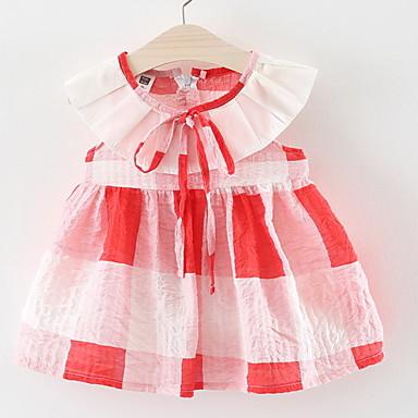 3c42a0d2e851 Μωρό Κοριτσίστικα Ενεργό Καθημερινά Καρό Στάμπα Αμάνικο Πάνω από το Γόνατο  Βαμβάκι Φόρεμα Ρουμπίνι / Νήπιο