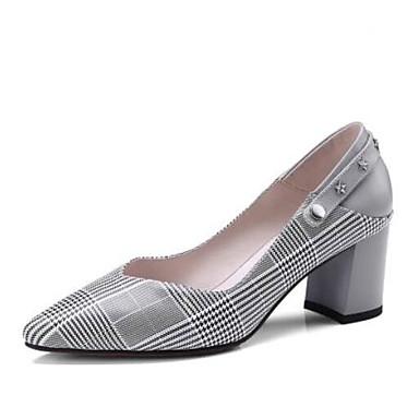 Žene Cipele Mekana koža Jesen Udobne cipele Cipele na petu Kockasta potpetica Sive boje