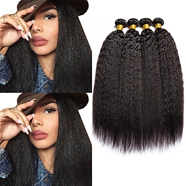 baratos Extensões de Cabelo Natural-4 pacotes Cabelo Malaio Yaki 8A Cabelo Humano Cabelo Humano Ondulado Cabelo Bundle Um Pacote de Solução 8-28 polegada Côr Natural Tramas de cabelo humano Melhor qualidade Extensões de cabelo humano