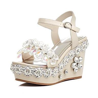 Eté de semelle Chaussures Noir Femme 06857041 Amande Confort Sandales Cuir Blanc Hauteur Nappa compensée A0ZFtZq
