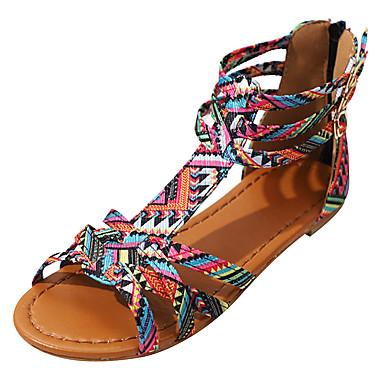 voordelige Damessandalen-Dames Sandalen Britse stijl geruite schoenen Platte hak Open teen  Gesp PU Comfortabel Zomer Paars / Roze / EU40