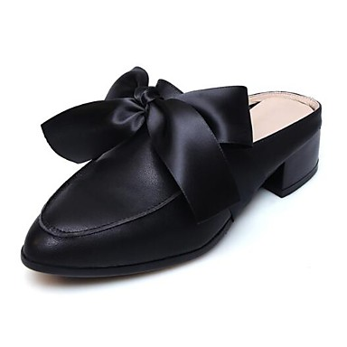Femme Confort Nappa Blanc Bout amp; Talon Noir Chaussures Bottier Mules 06843136 fermé Cuir Eté Printemps Sabot 4nX4rpwA