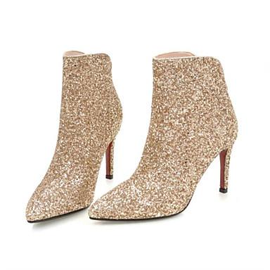 voordelige Dameslaarzen-Dames Laarzen Fashion Boots Naaldhak Gepuntte Teen Synthetisch Korte laarsjes / Enkellaarsjes Herfst winter Zwart / Zilver / Rood / Bruiloft / Feesten & Uitgaan