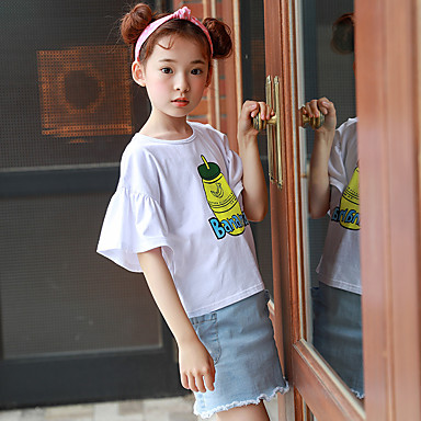 baratos Blusas para Meninas-Infantil Para Meninas Vintage Sólido Manga Curta Blusa Branco
