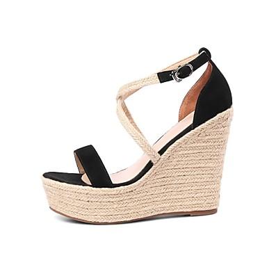 Sandales Daim compensée Hauteur Chaussures 06863576 Printemps de été semelle Femme Confort Amande Noir XTq6xAUqw