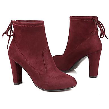 Femme Chaussures Daim Automne hiver Confort Confort Confort / Botillons Bottes Talon Bottier Bottine / Demi Botte Noir / Gris foncé / Bourgogne | Exquis (en) Exécution  c73337