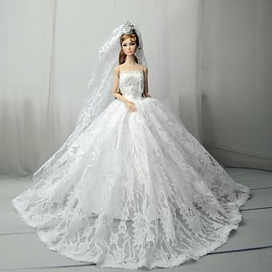 Hochzeit Kleider Für Barbiedoll Spitze / Satin Kleid Für Mädchen Puppe Spielzeug