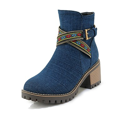 Women's Cowboy / Western Boots Denim Fall & Winter Round Casual Boots Chunky Heel Round Winter Toe Booties / Ankle Boots Buckle Black / Dark Blue / Light Blue fbd2f2