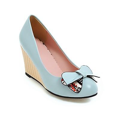 Rose Hauteur Polyuréthane de Chaussures à Noir Confort Bleu Talons Chaussures semelle Femme compensée 06841467 Automne OwHq0WS