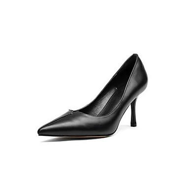 Nappa Amande Femme Chaussures Blanc Confort Talons Cuir Printemps Noir 06850016 Talon à Aiguille Chaussures 77HwETxq1