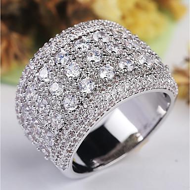 billige Motering-Dame Ring / Micro Pave Ring 1pc Sølv Kobber / Platin Belagt / Fuskediamant damer / Klassisk / Overdrivelse Bryllup / Fest / Maskerade Kostyme smykker / Stjerne