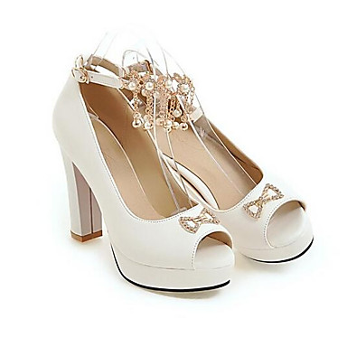 Mujer Blanco Rosa PU Zapatos Tacones Negro Tacón Stiletto Primavera Confort 06857136 0nr0zqxwA