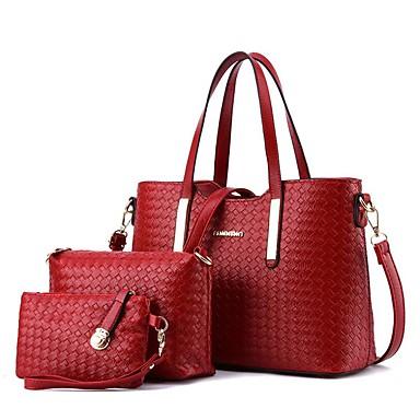 hesapli Çanta Setleri-Kadın's Fermuar Çanta Setleri Çanta Setleri Polyester 3 Adet Çanta Seti Siyah / Gümüş / Şarap