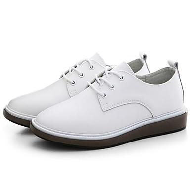 Blanc Nappa Noir Plat Femme Cuir Bout Confort fermé Eté Chaussures Talon Oxfords 06848442 Printemps wwZ7qP8E