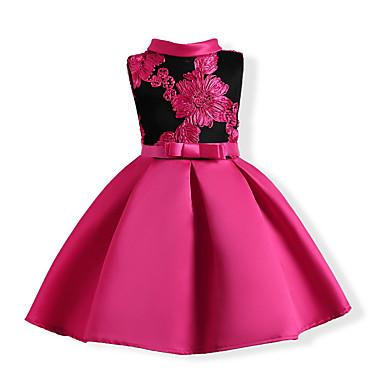 お買い得  女児 ドレス-子供 女の子 甘い パーティー フラワー リボン 刺繍 ノースリーブ コットン ポリエステル ドレス フクシャ