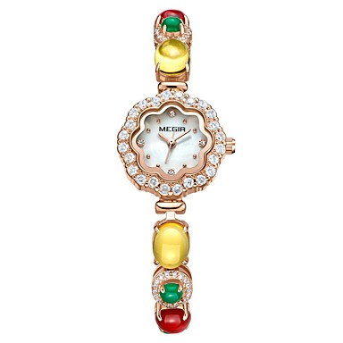 baratos Relógios Senhora-MEGIR Mulheres Relógio Elegante Relógio de Pulso Relógio de diamante Japanês Quartzo Cobre Ouro Rose 30 m Impermeável Criativo Novo Design Analógico senhoras Luxo Com Pérolas - Ouro Rose