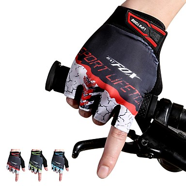 abordables Gants Velo-Gants vélo / Gants Cyclisme Respirable Antidérapant Anti-transpiration Protectif Doigt moyen Gants sport VTT Vélo tout terrain Rouge Vert Bleu pour Adulte Extérieur