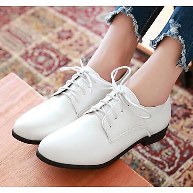 Zapatos Negro Blanco Cuadrado Oxfords PU Tacón Otoño 06848813 Rojo Confort Mujer Primavera amp; fvnOvFp