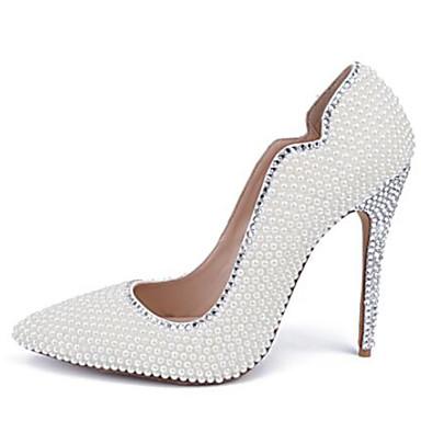 91e5c19b6430 Femme Chaussures Cuir Verni Printemps été Escarpin Basique Chaussures de  mariage Talon Aiguille Bout pointu Perle   Paillette Brillante Blanc    Mariage