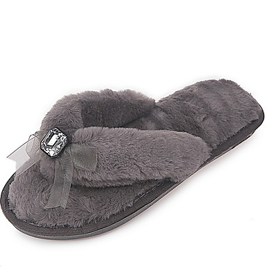 cheap Slippers-Women's Slippers House Slippers Ordinary Terry Bowknot Shoes