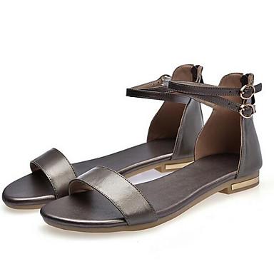 Blanco Plano Cuero Mujer Napa Negro de Zapatos 06863602 Tacón Primavera Dorado Confort Sandalias 8pwUFvq