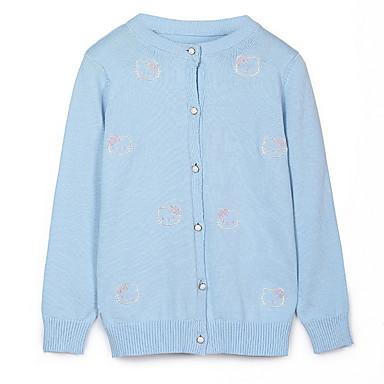 832038936e83 Děti Dívčí Aktivní Jednobarevné Dlouhý rukáv Polyester Svetříky a kardigany  Světle modrá