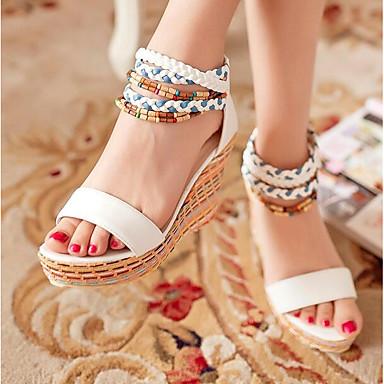 저렴한 해변으로 출발-여성용 샌들 편안한 신발 쐐기 뒤꿈치 PU 여름 화이트 / 오렌지 / 블루 / EU36