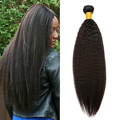 3 pacotes Cabelo Eurásio Yaki Liso 8A Cabelo Humano Não processado Cabelo Natural Cabelo Humano Ondulado Extensor Cabelo Bundle 8-28 polegada Côr Natural Tramas de cabelo humano Macio Nova chegada