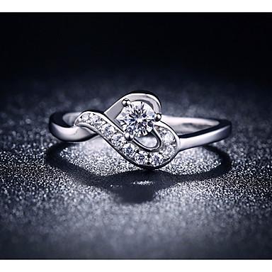 billige Motering-Dame Ring Kubisk Zirkonium 1pc Sølv Kobber Annerledes damer Romantikk Søt Bryllup Gave Smykker umake Hjerte Smuk