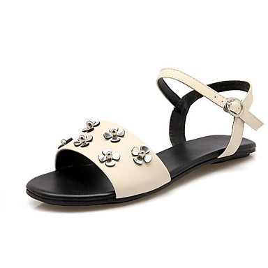 06863736 Tacón Beige Confort Verano Negro Rosa PU Plano Mujer Zapatos Sandalias xZv8ZXw