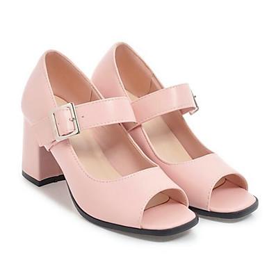 Zapatos PU Primavera Tacón 06863719 Mujer Almendra Rosa Tacones Básico Negro Pump Cuadrado d5xpqwH