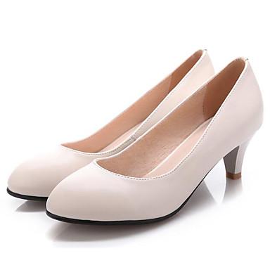 Basique Cuir à Femme Beige Noir Kitten Chaussures amp; Nappa Confort Escarpin Automne Printemps Talons Chaussures Heel 06850015 rB4x45qwR8