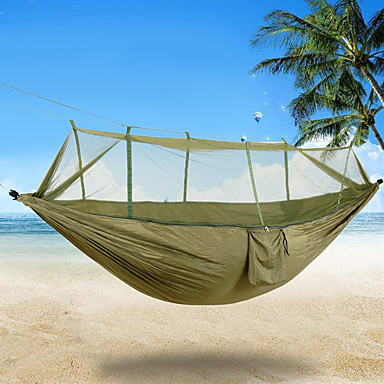 2 persons Camping Hammock with Mosquito Net Rope Bags Tie Wrap Padlock Moistureproof/Moisture Permeability Well-ventilated Ultra Light