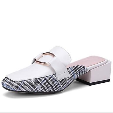 Femme Chaussures Confort Sabot fermé Bottier Bout Blanc amp; Printemps Cuir 06843198 Mules Noir Nappa Eté Talon rrXYdg7