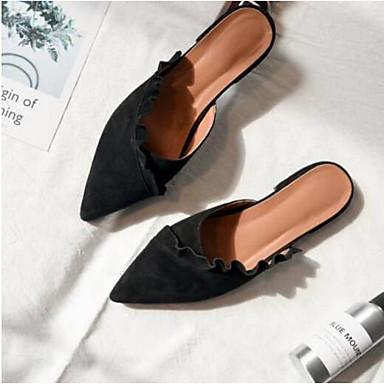 amp; Confort Printemps Kaki Chaussures Bout fermé de Noir Talon Mules mouton Daim Eté Sabot Plat 06856609 Femme Peau qRXz0wz