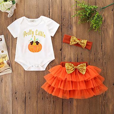 billige Halloweensalg-Baby Jente Fritid / Aktiv Fest / Ferie Trykt mønster / Frukt Paljetter / Sløyfe / Flettet Kortermet Normal Tøysett Oransje / Netting