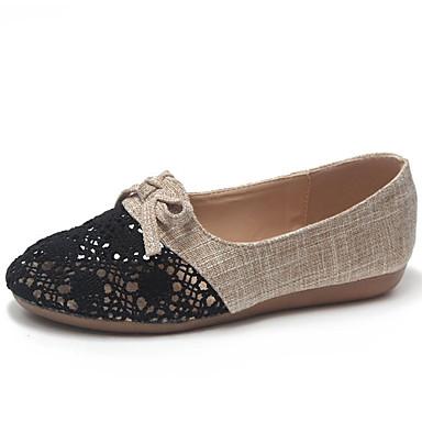 Bailarinas 06855014 Mujer Confort Zapatos redondo Lino Dedo Tacón Beige Plano Verano Pajarita Negro x7rI7qwa