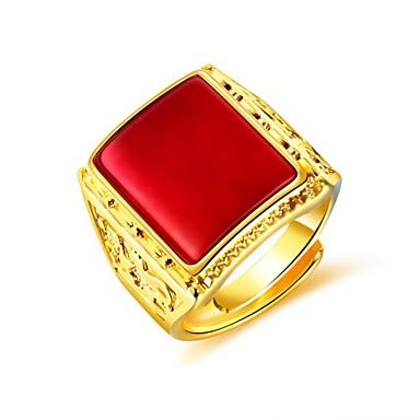 voordelige Herensieraden-Heren Ring Zegelring Synthetische Ruby 1pc Zwart Rood Groen 18 Karaats Verguld Koper Geometrische vorm Modieus Dagelijks Avond Feest Sieraden Stijlvol Creatief Cool