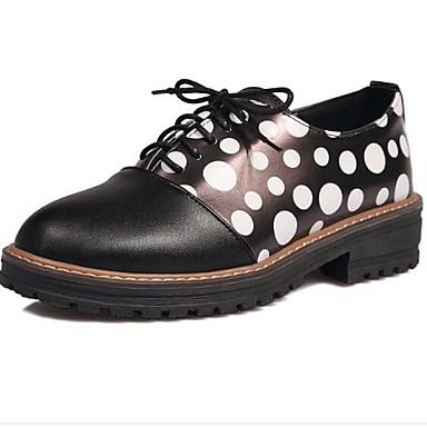 06843268 Plano Zapatillas Confort Punta deporte Primavera de Blanco Negro Verano cerrada Mujer PU Tacón Zapatos C6wq6HU