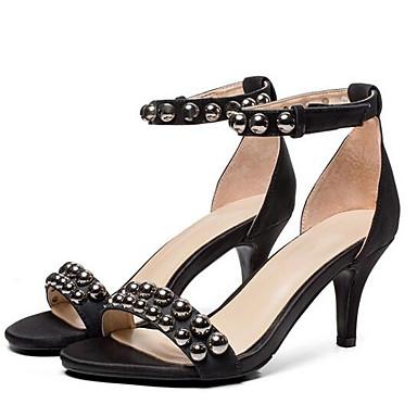 Noir Confort Aiguille Femme 06845268 Eté Satin Chaussures Talon Sandales Jaune OtfU10xq