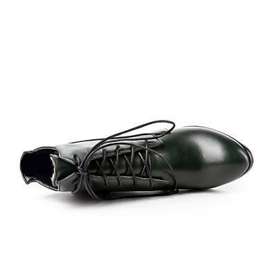 amp; Talon Botte à foncé rond Vert Bottes Polyuréthane Chaussures Noeud 06862601 Demi Automne Printemps Noir Bottier la Femme Bout Bottine Bottes Mode qfvtpafR