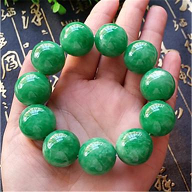voordelige Herensieraden-Heren Jade Kralenarmband Klassiek kralen Bal Aziatisch Luxe Klassiek Steen Armband sieraden Groen Voor Carnaval Straat