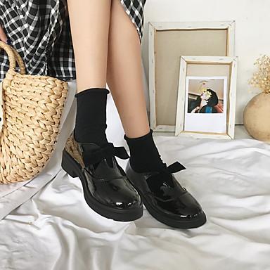 bajo Otoño y de Bajo Patentado Zapatos Tacón On Mujer Negro Pajarita 06845277 Confort Wine redondo Slip Cuero taco Zapatos Dedo nCz8txwqgx