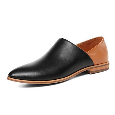 Printemps Chaussons D6148 Talon 06850352 Mocassins Confort Nappa Noir Eté Cuir fermé Blanc Plat et Chaussures Femme Bout qUwStt