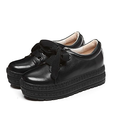 Automne Cuir Femme 06841457 Oxfords Chaussures Noir hiver Confort Creepers Nappa Blanc ta767q