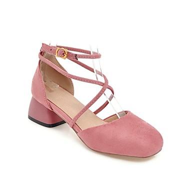 Mujer Microfibra Cuadrado Tacón Rojo Confort 06863860 Zapatos verano Rosa Primavera Verde Tacones rrT5Cqn